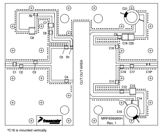 Figure 1. MRF8S9260HR3(HSR3) Test Circuit Component Layout