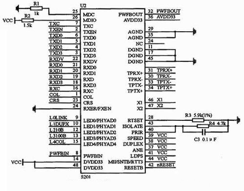 the interface circuit diagram of the physical layer chip and W3150A+