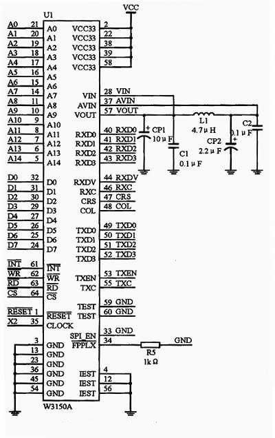 the interface circuit diagram of the W3150A+ and FPGA