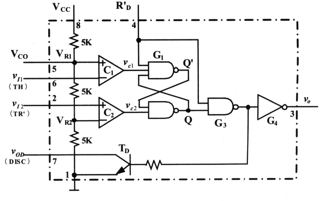 Internal Structure Diagram of 555 Time-base Circuit