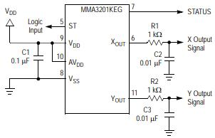 SOIC Accelerometer with Recommended Connection Diagram